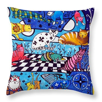 Throw Pillow featuring the painting Cat Cocktail - Cat Art By Dora Hathazi Mendes by Dora Hathazi Mendes