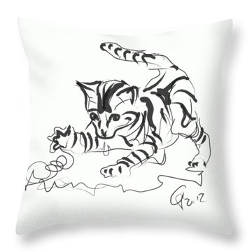 Throw Pillow featuring the digital art Cat- Cute Kitty  by Go Van Kampen