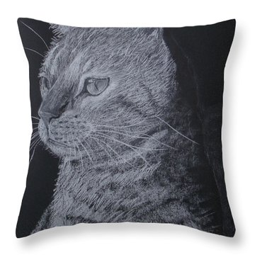 Cat Throw Pillow by Cybele Chaves