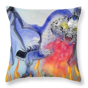 Cat Dragon Throw Pillow