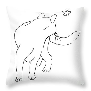 Cat-drawings-black-white-2 Throw Pillow