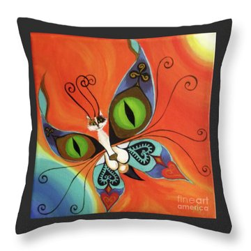 Cat-eyes Butterfly Throw Pillow by Melina Mel P
