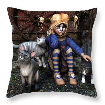 Cat Girl Throw Pillow by Jutta Maria Pusl
