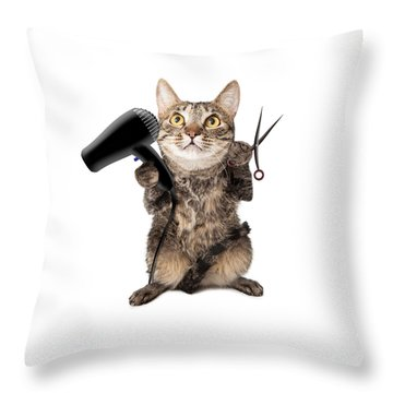 Cat Groomer With Dryer And Scissors Throw Pillow by Susan Schmitz