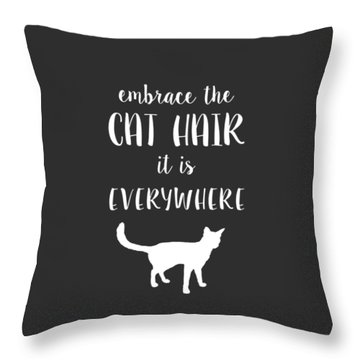 Throw Pillow featuring the digital art Cat Hair by Nancy Ingersoll