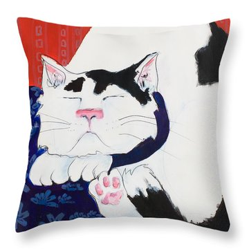 Cat I - Asleep Throw Pillow by Leela Payne