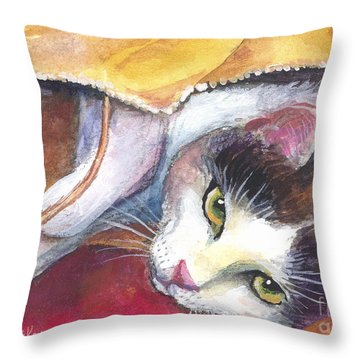 Cat In A Bag Painting Throw Pillow