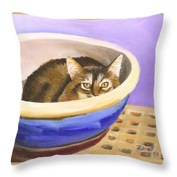 Cat In Bowl Throw Pillow by Mary Jo Zorad