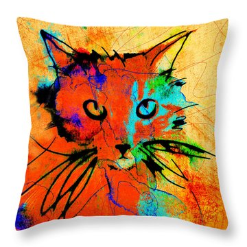 Cat In Red And Yellow Throw Pillow
