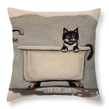 Cat In The Bathtub Throw Pillow