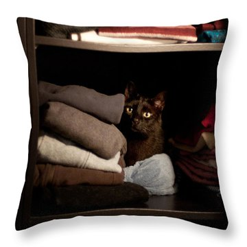 Throw Pillow featuring the photograph Cat In The Closet by Laura Melis