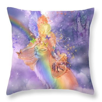 Cat In The Dreaming Hat Throw Pillow by Carol Cavalaris