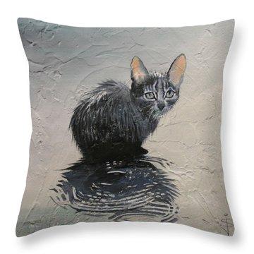Cat In The Rain Throw Pillow by Jan Szymczuk
