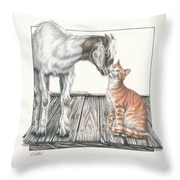 Cat Kiss Throw Pillow