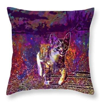 Throw Pillow featuring the digital art Cat Kitten Cat Baby Mackerel  by PixBreak Art