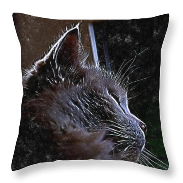 Cat Muse Throw Pillow by Aliceann Carlton