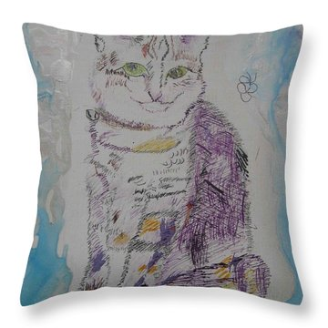 Throw Pillow featuring the painting Cat Named Jade by AJ Brown