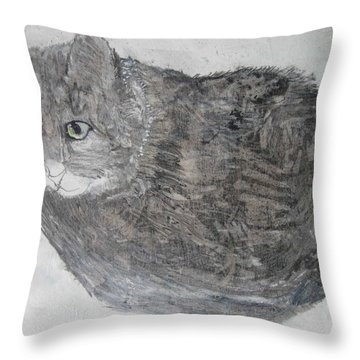Throw Pillow featuring the mixed media Cat Named Shrimp by AJ Brown