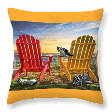 Throw Pillow featuring the photograph Cat Nap At The Beach by Debra and Dave Vanderlaan