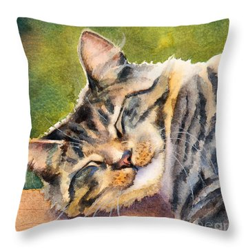 Throw Pillow featuring the painting Cat Nap by Bonnie Rinier
