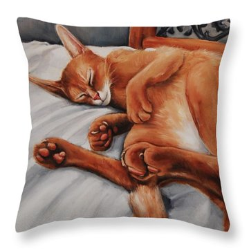 Cat Nap Throw Pillow by Jean Cormier