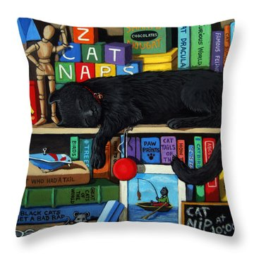 Throw Pillow featuring the painting Cat Nap - Orginal Black Cat Painting by Linda Apple
