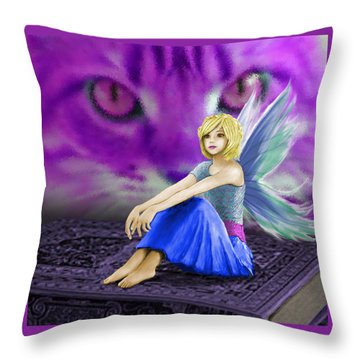 Cat Observes Fairy Throw Pillow