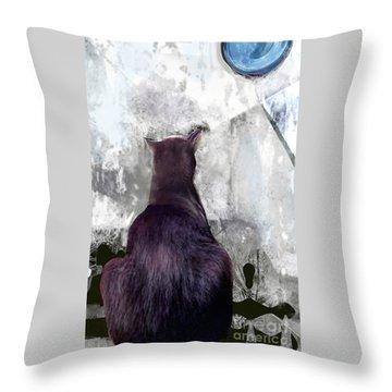 Cat's Blue Moon Throw Pillow