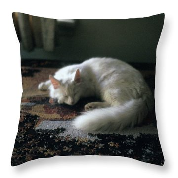 Cat On A Puzzle Throw Pillow