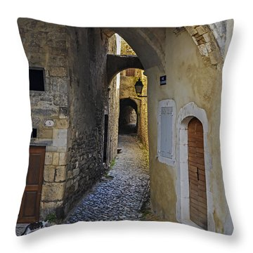 Throw Pillow featuring the photograph Cat On A Quiet Street In Viviers by Allen Sheffield