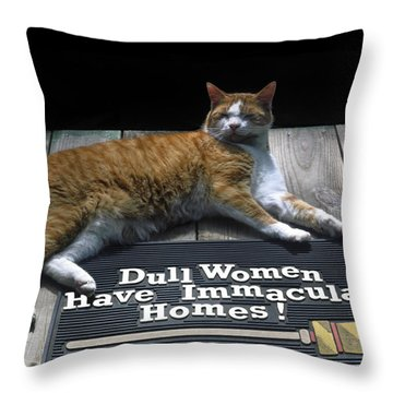 Throw Pillow featuring the photograph Cat On Dull Women Mat by Sally Weigand
