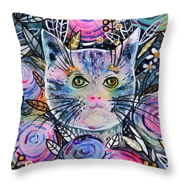 Throw Pillow featuring the painting Cat On Flower Bed by Zaira Dzhaubaeva