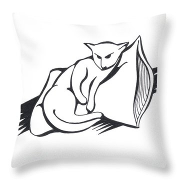 Throw Pillow featuring the drawing Cat On Pillow by Keith A Link