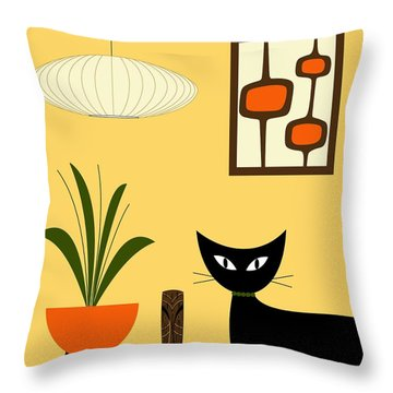 Cat On Tabletop With Mini Mod Pods 3 Throw Pillow