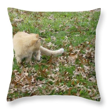 Throw Pillow featuring the photograph Cat Playing In The Leaves by Skyler Tipton