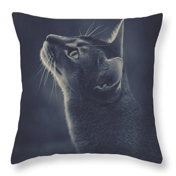 Cat Portrait In Blue Throw Pillow