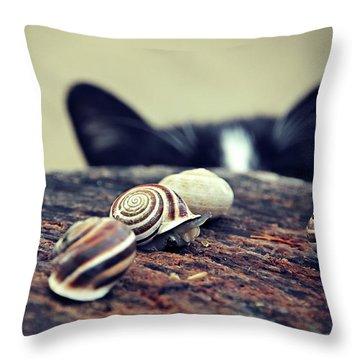 Cat Snails Throw Pillow