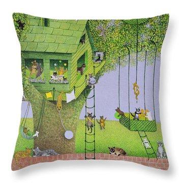 Cat Tree House Throw Pillow