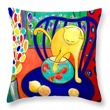 Cat - Tribute To Matisse Throw Pillow