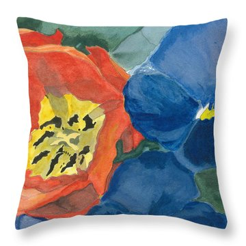 Throw Pillow featuring the painting Cat Tulip by Joel Deutsch