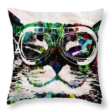 Cat Watercolor Rainbow Dreaming In Color Poster Print By Robert R Throw Pillow by Robert R Splashy Art Abstract Paintings
