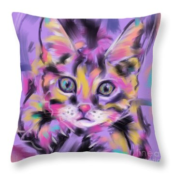 Throw Pillow featuring the painting Cat Wild Thing by Go Van Kampen