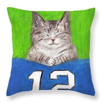 Cat With 12th Flag Throw Pillow