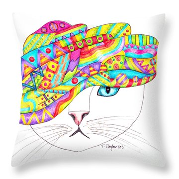 Cat With A Fancy Turban Throw Pillow by Terry Taylor