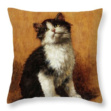 Cat With Butterfly Throw Pillow