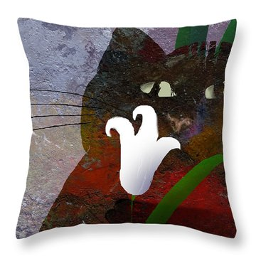 Cat With Lily Throw Pillow
