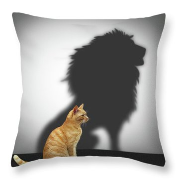 Cat With Lion Shadow Throw Pillow