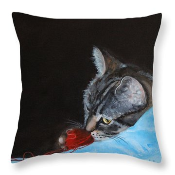 Cat With Red Yarn Throw Pillow