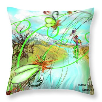 Catails And Flys Throw Pillow