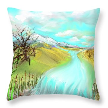 Catails Before The Fisherman Throw Pillow